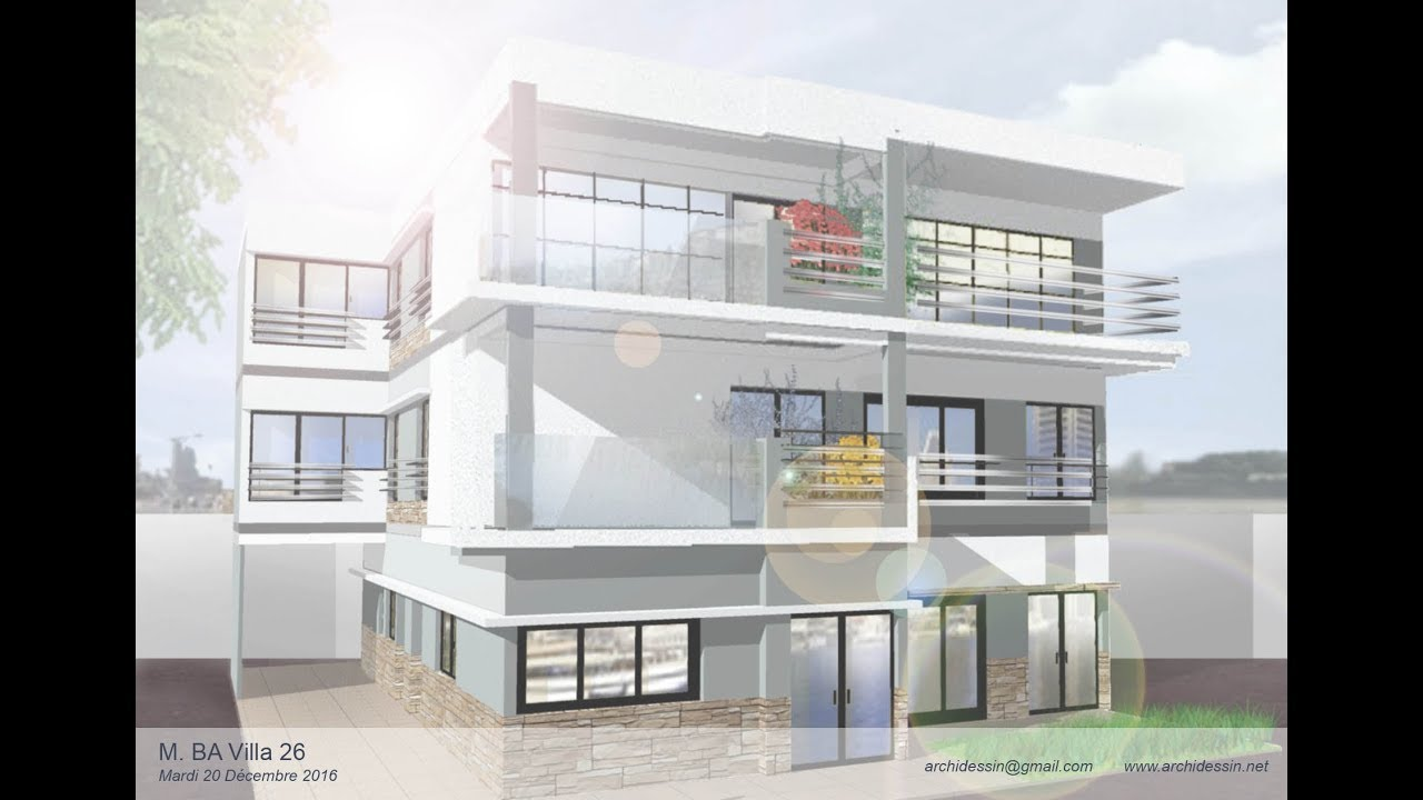 Design de fa ade et plan villa s n gal almadies youtube for Plan moderne villa