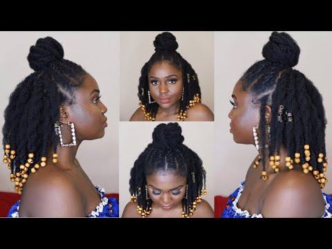 Loose twist half up half down protective style on 4c hair ft African Pride Black Castor Miracle