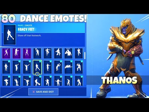NEW! DANCE EMOTES with THANOS SKIN!! Fortnite Battle Royale thumbnail