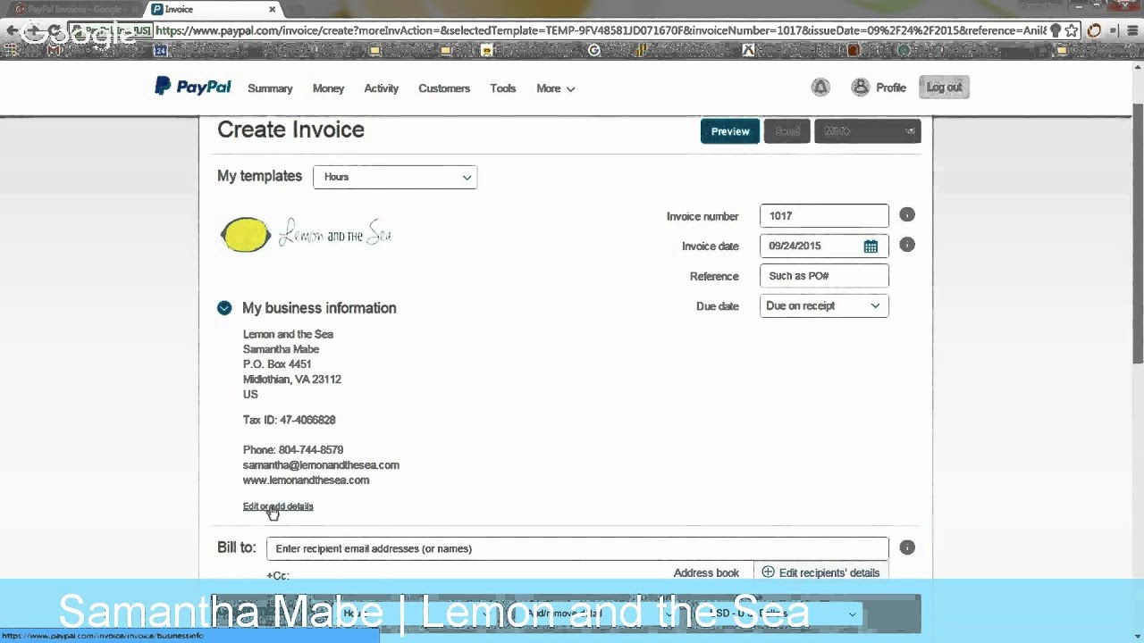 Creating A Custom Invoice In PayPal YouTube - How to create an invoice paypal