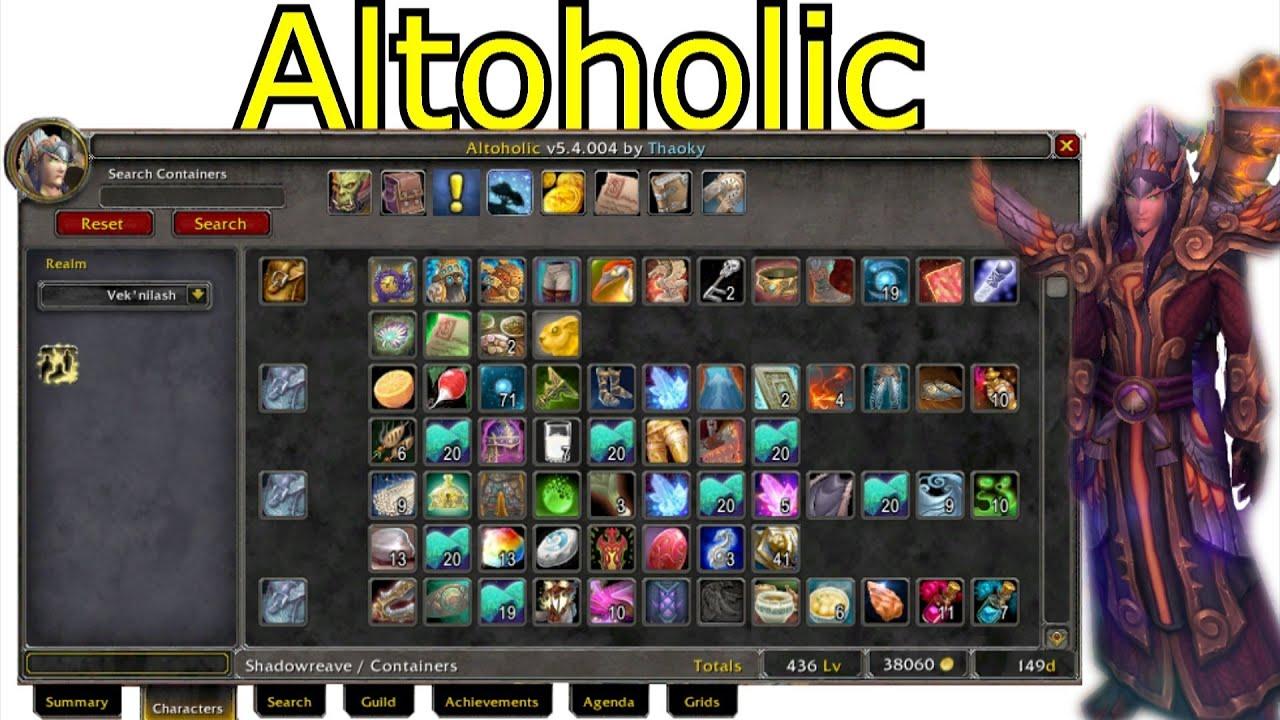Altoholic Addon world of warcraft altoholic addon spotlight