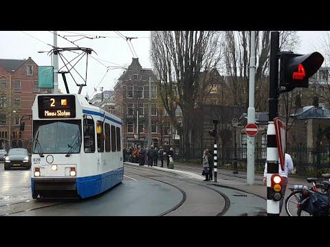 GVB Amsterdam 12G Tram als lijn 2 vanuit Rijksmuseum naar Nieuw Sloten