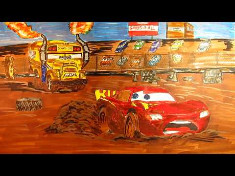 How To Draw and Color CARS 3 Lightnin MCQUEEN & Miss Fritter  Demolition Derby Video for kids