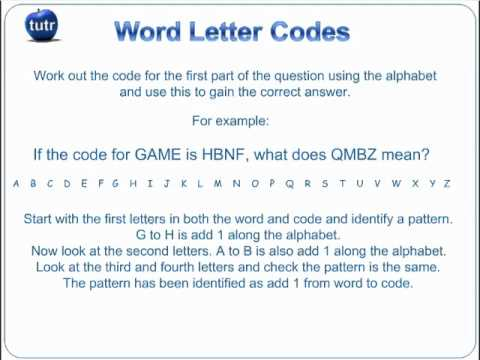 11 Plus Non Verbal Reasoning Exam Practice Questions   Word Letter Codes