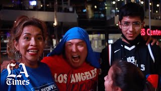 Fans outside Staples Center celebrate the Clippers curse-breaking victory