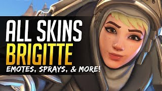 Overwatch BRIGITTE ALL SKINS - Emotes, Voicelines, Sprays, and more!