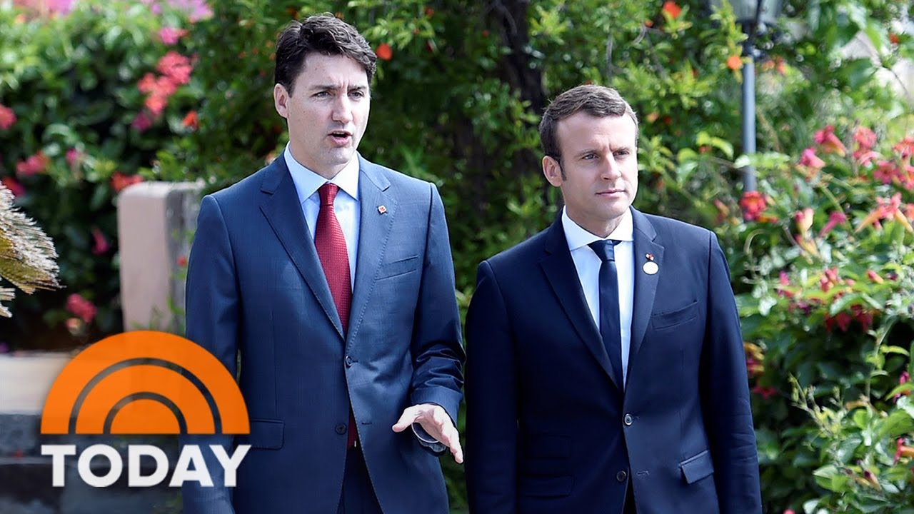 Justin Trudeau Emmanuel Macron S Budding Bromance Has The Internet Swooning Today Youtube
