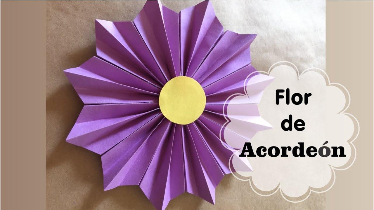 Cmo hacer una Flor de acorden Flores de papel YouTube