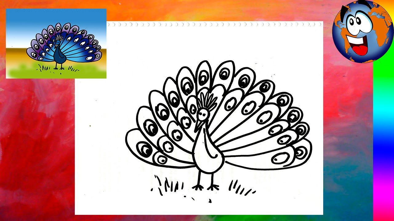 pavo real dibujo facil para ni os peacock drawing youtube. Black Bedroom Furniture Sets. Home Design Ideas