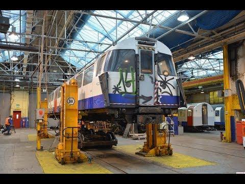 Heritage Tube Trains inside London Underground's Acton Works