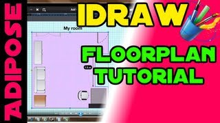 Idraw Tutorial #2 - Floorplan, Gridlines, Dotted Lines, Subtract, Pre-made Objects