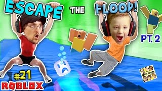 ROBLOX FLOOD ESCAPE Pt.2! Try Not To Drown Challenge w/ FGTEEV Duddy & Chase #21