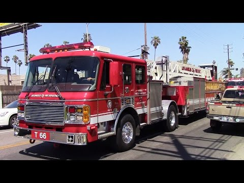 LAFD Light Force 66 & Rescue 266 Responding