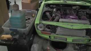 Sr20det Datsun 510 OLD start COLD start | Exploding water bottle | Wrong Parts - NO progress.