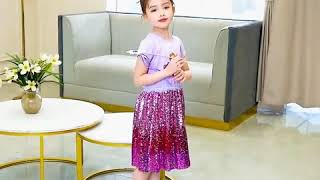 Детское платье анны и эльзы для девочек праздничные платья на день рождения летние с блестками