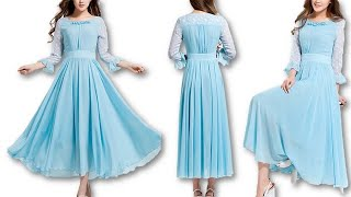 DIY Stylish party wear Maxi dress cutting stitching at home