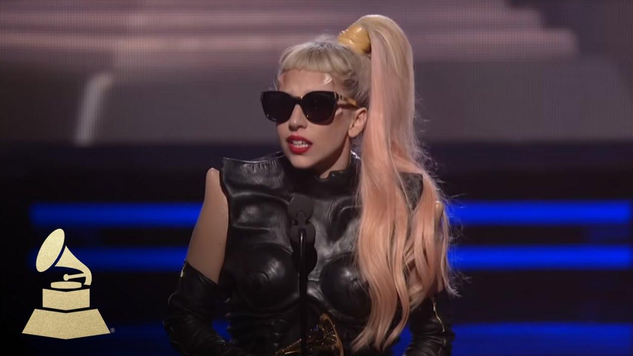 Lady Gaga Grammys: Lady Gaga Accepting The GRAMMY For Best Pop Vocal Album At