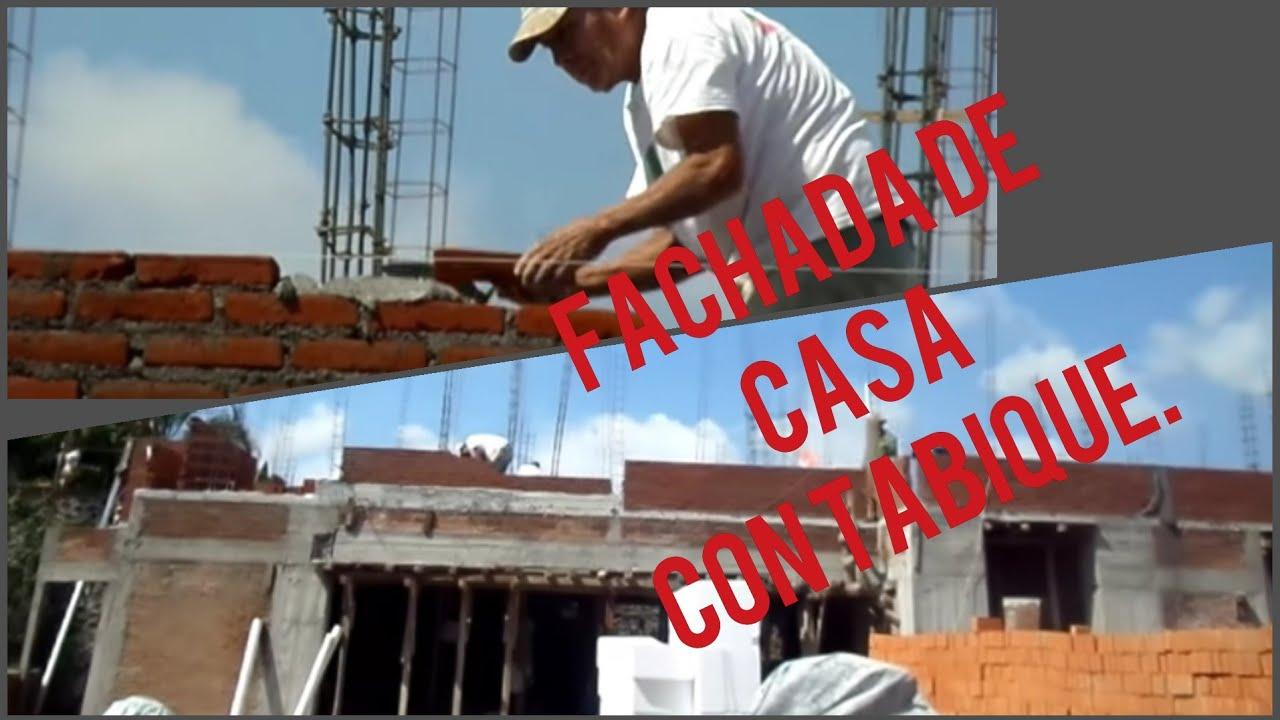 Fachada en construcci n de casa muros de tabique rojo en - Construccion de chimeneas de ladrillo ...