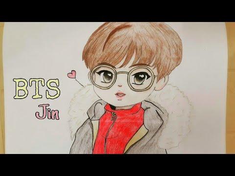 كيفية رسم جين انمي عضو في فرقة بي تي إس How To Drawing Jin