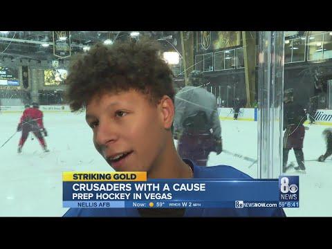 Faith Lutheran Crusaders planting the hockey flag