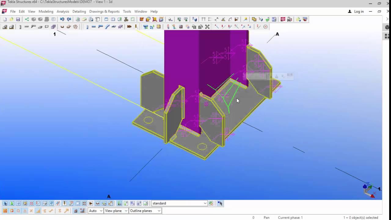 Portal frame modelling and grid creation in TEKLA Structures