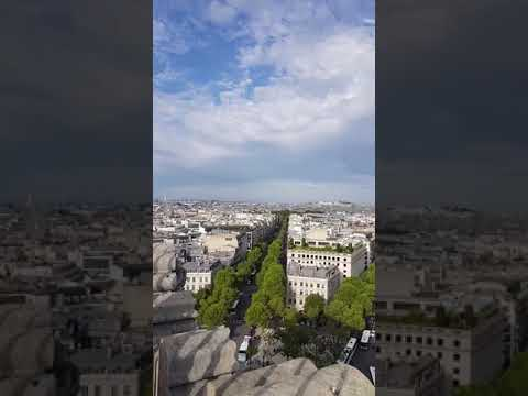 Incredible view on Paris City and Eiffel Tower from Arch of Triumph
