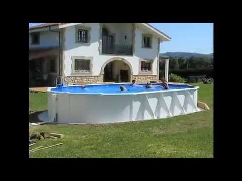 Piscine hors sol atlantis gr ovale youtube for Piscine hors sol hauteur 1m50