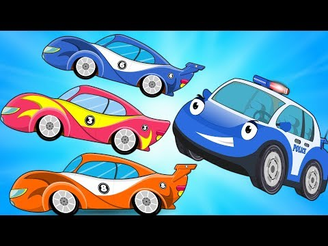 Bob the Police Car vs Racing Cars with Red Super Car s for Kids Children Cartoon