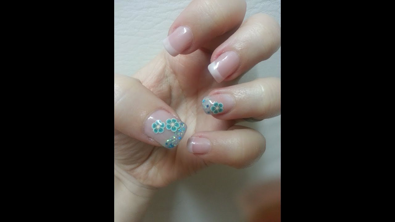 U as de gel con glitter y encapsulado de fimo youtube - Decoracion de unas gel ...