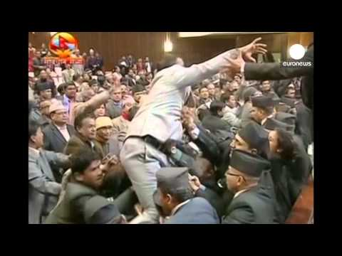 Fighting And Chaos Break Out In Nepal Parliament