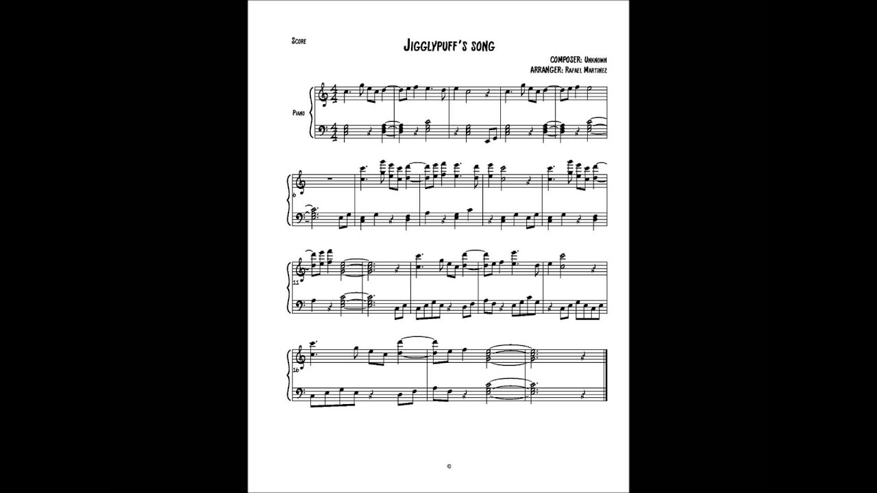 Jigglypuff's Song (Sheet music for piano) - YouTube