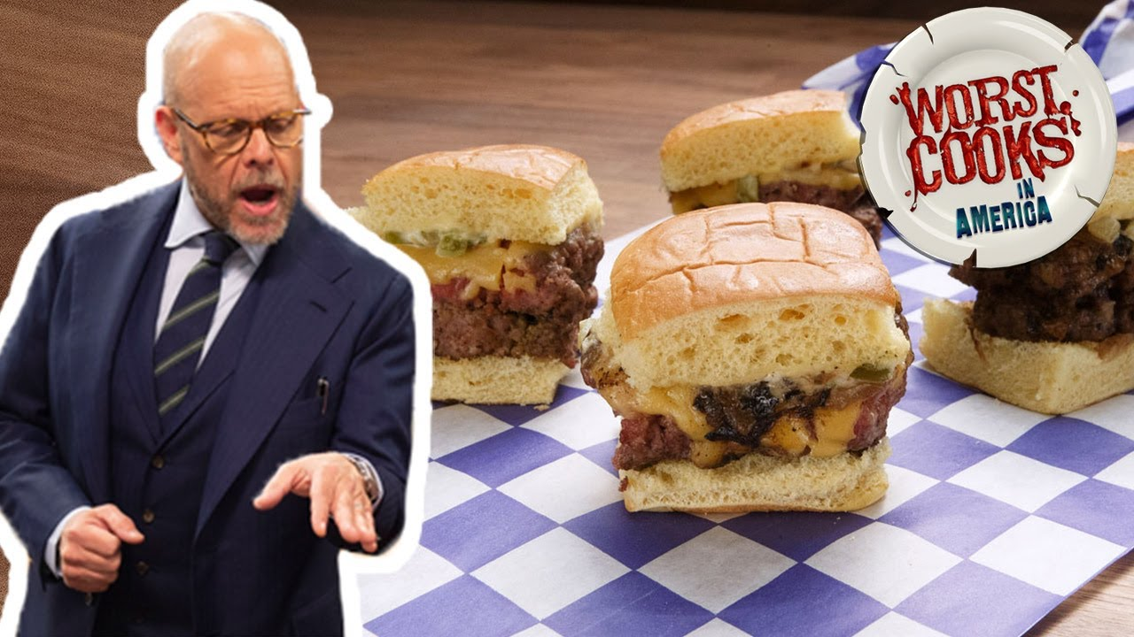Download Alton Brown Makes Mini Man Burgers with Grilled Onions | Worst Cooks in America | Food Network