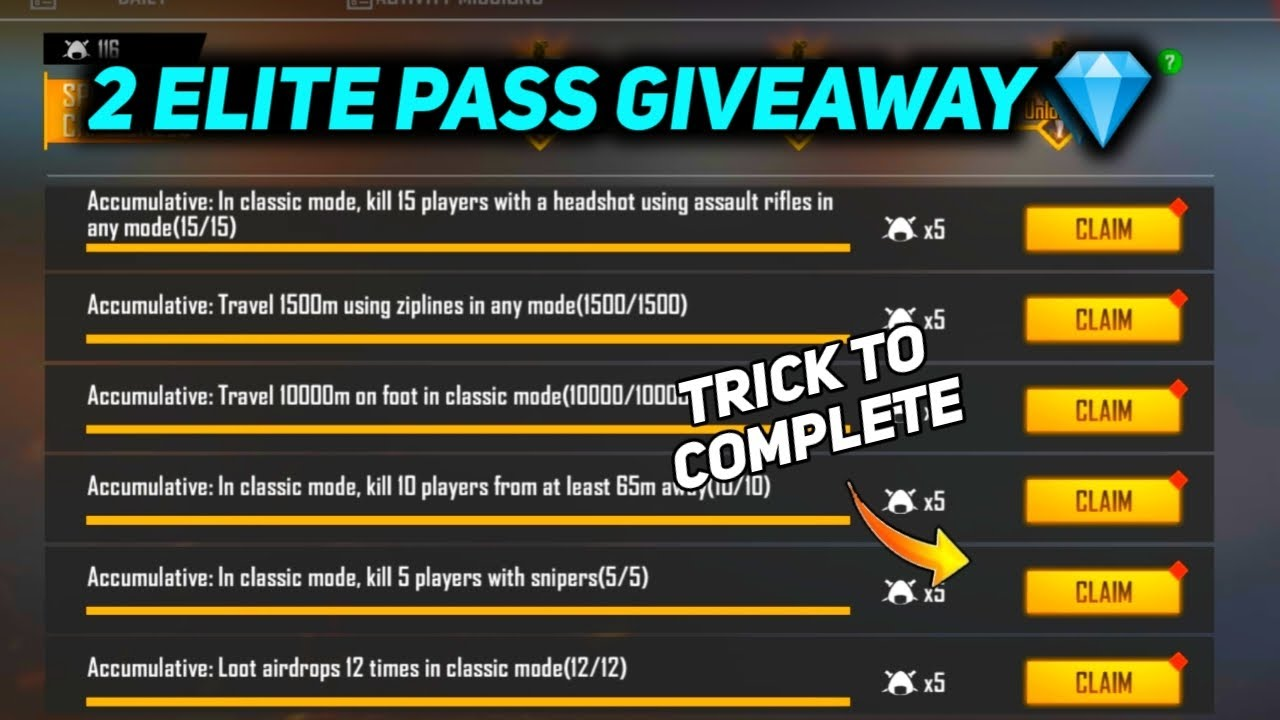 Complete All Mission In 1 Day - 2 Elite Pass Giveaway 💎 - Garena Free Fire
