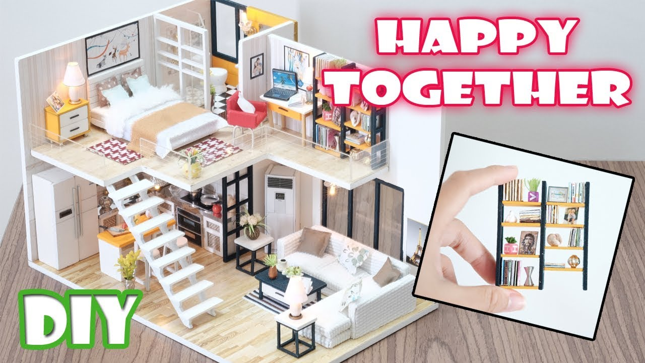 diy miniature dollhouse kit happy together with full furniture and light