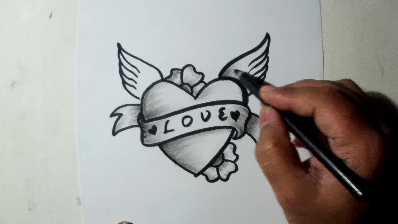 How to draw a heart easy sketch draw shade