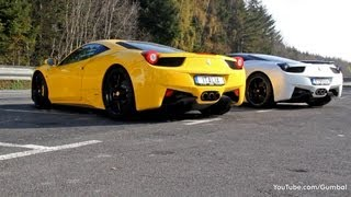 Matte Pearl White Ferrari 458 Italia + Black/Yellow 458 Italia!! - SOUND!!