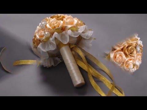 Букет невесты из атласных лент , A bouquet of satin ribbons