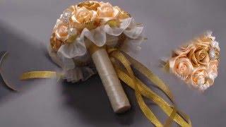 Букет невесты из атласных лент , A bouquet of satin ribbons(Букеты из атласных лент, на любой ваш праздник... Свадьба, день рождение, предложение руки и сердца, выписка..., 2015-05-12T12:10:22.000Z)