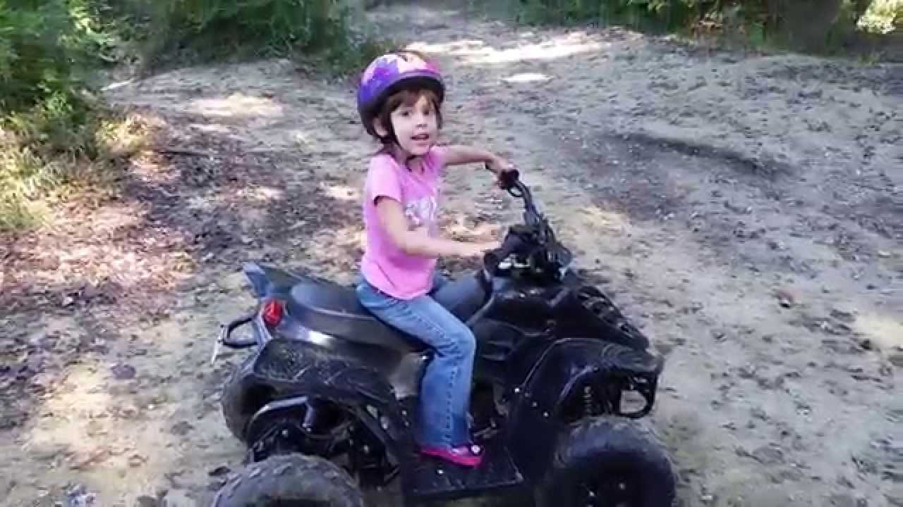 My 4 year old daughters first real 4 wheeler ride - YouTube