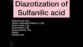 Synthesis of Methyl Orange starting from Diazotization
