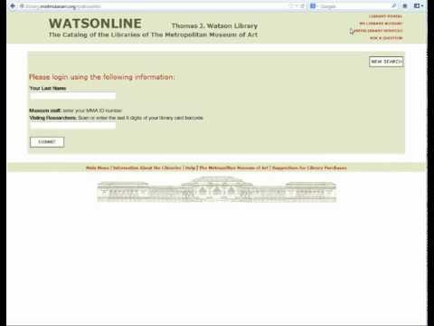 Thomas J. Watson Library: Using My Library Account