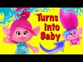 TROLLS POPPY TURNS INTO A BABY! Fountain of Youth Parody ❤ Trolls Married 3 Baby Dolls DisneyCarToys