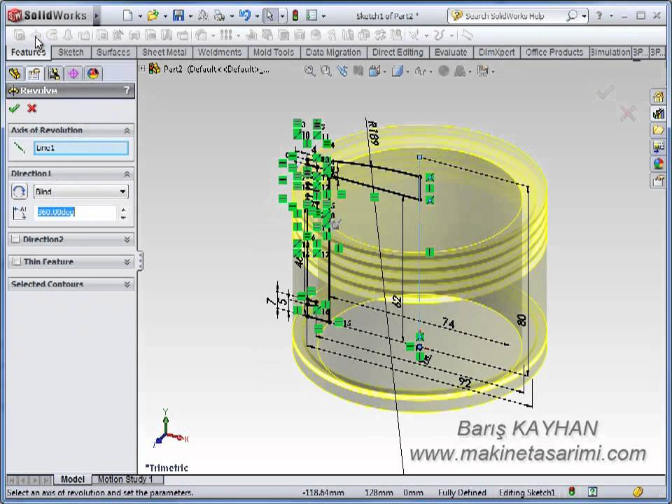 SolidWorks Video Tutorials / Part Design - Piston - YouTube