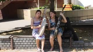 Запорожские студентки-бандуристки устроили уличный концерт