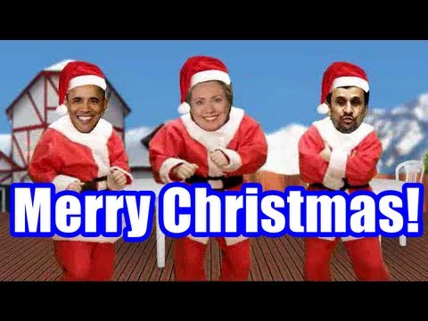 Barack Obama, Hillary Clinton And Mahmoud Ahmadinejad Together On Merry Christmas