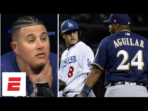 Manny Machado called a 'dirty player' by Brewers after bench-clearing kick on Jesus Aguilar