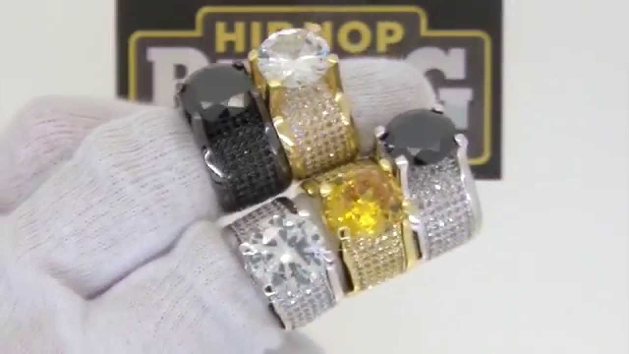 360 solitaire lab made bling bling ring quality hip hop for Custom lab made hip hop jewelry