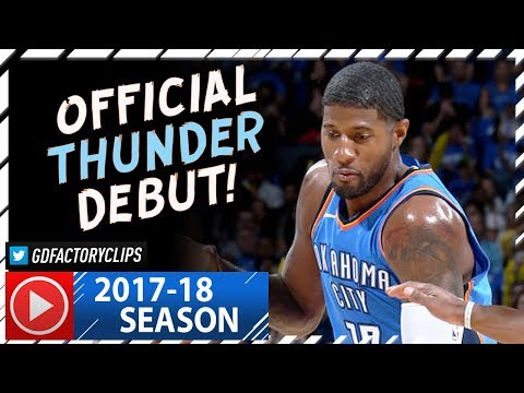 Paul George Official Thunder Debut Highlights vs Knicks (2017.10.19) - 28 Pts, 6 Reb