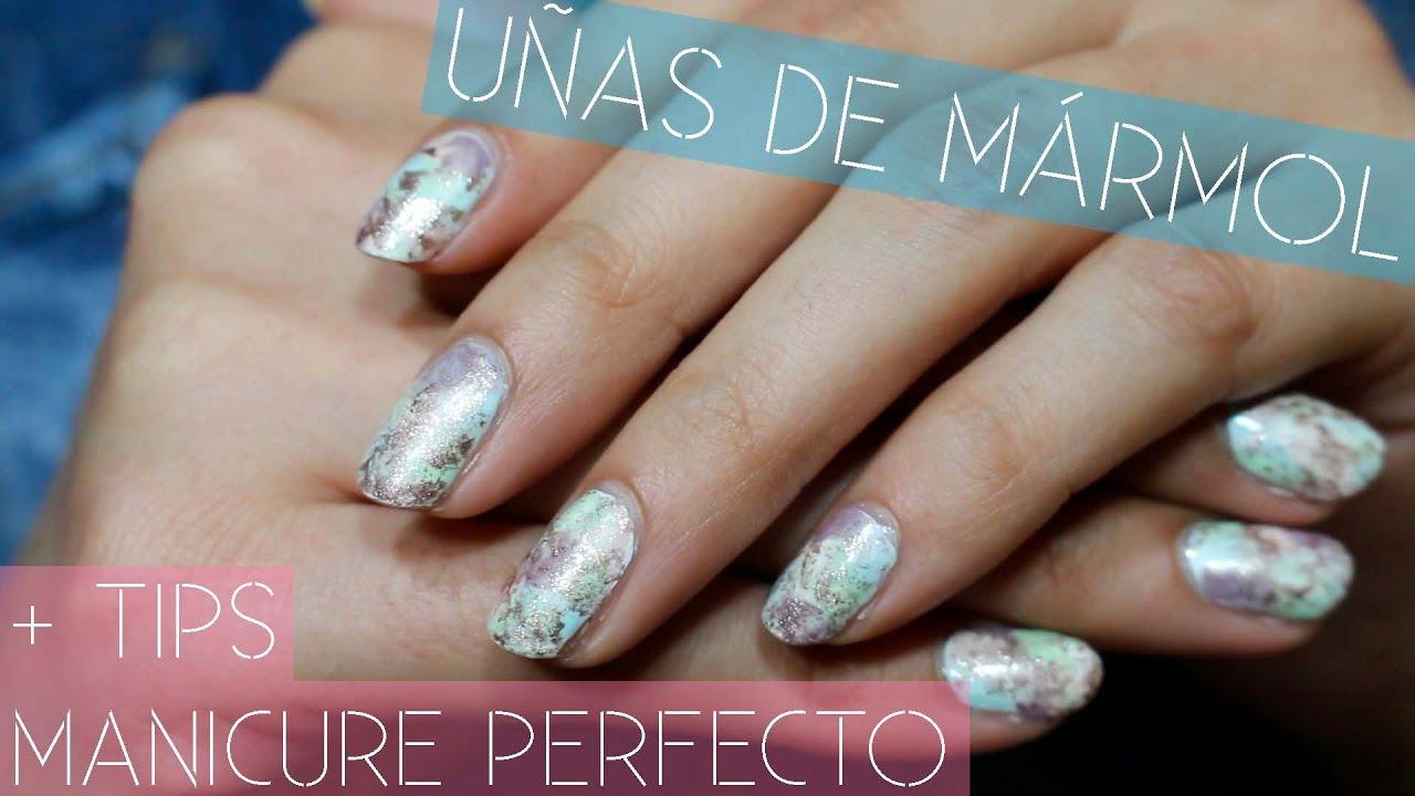 Uñas con efecto mármol + Tips para manicure PERFECTO!!   Melissa ...