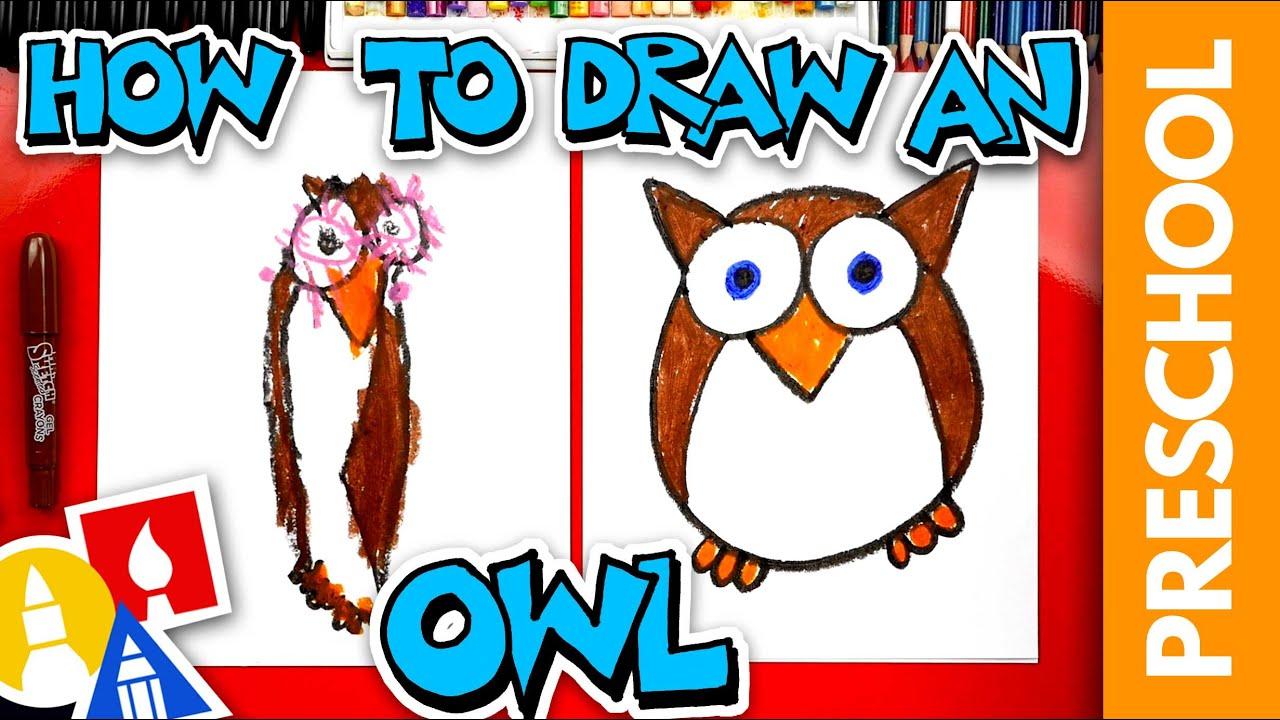 How To Draw A Funny Cartoon Owl   Preschool